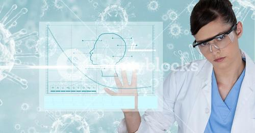 Digital composite image of female doctor touching screen
