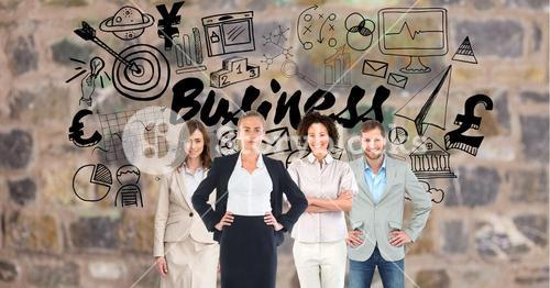 Digital composite image of business people with various icons