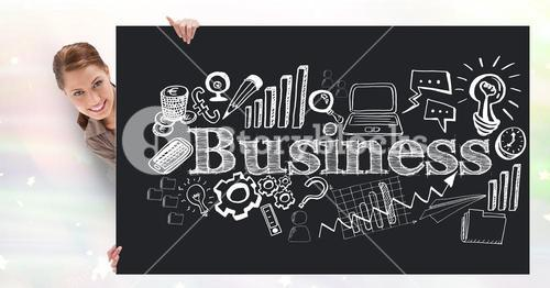 Digital composite image of businesswoman holding bill board with business text and icons