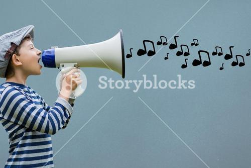 Side view of boy talking in megaphone with musical notes coming out