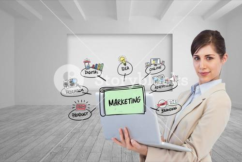 Confident business woman using laptop with marketing signs and icons in front
