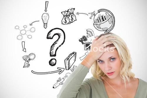 Confused woman with hand on head by icons over white background