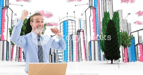 Digital composite image of successful businessman with laptop in city