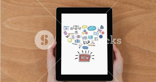 Hands holding digital tablet with new idea icons