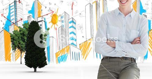 Digital composite image of businesswoman with arms crossed in city