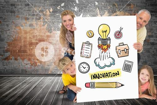 Happy family holding placard with innovation text and icons