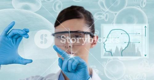 Digital composite image of female doctor using transparent screen