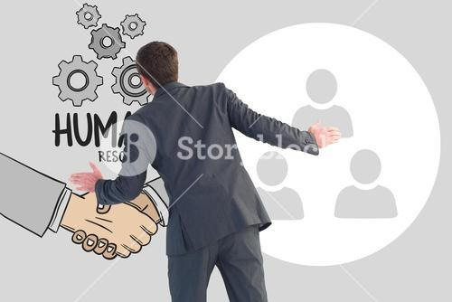 Digital composite image of HR representative with text and icons
