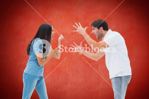 Angry couple arguing over red background