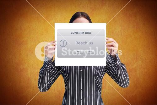Businesswoman holding placard with confirm box sign
