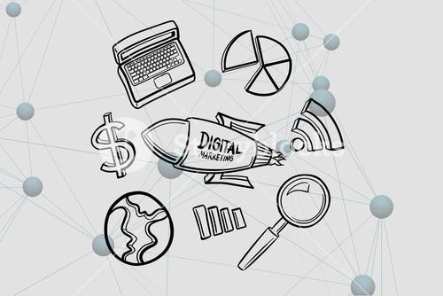 Digital composite image of digital marketing written on rocket by various icons