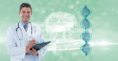 Digital composite image of doctor with clipboard by DNA and brain structures