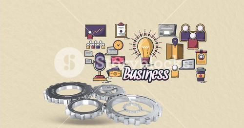 Digital composite image of business text with icons