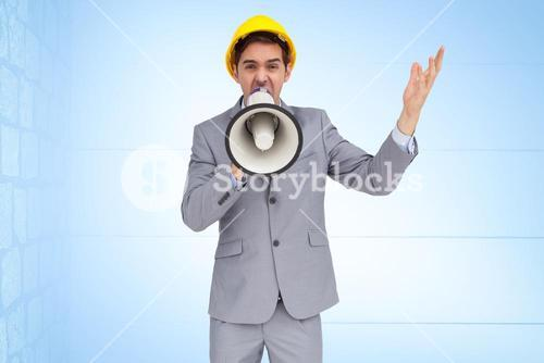 Architect screaming on megaphone
