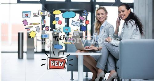 Digital composite image of businesswomen with technologies sitting by new idea icons