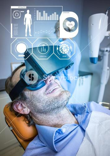 Man wearing VR Virtual Reality Headset with Health Fitness Medical Interface