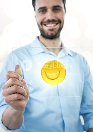 Business man with glass device and emoji with flare against white bokeh