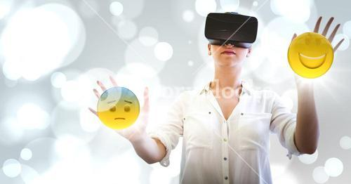 Woman in VR with network and emojis with flares against white bokeh