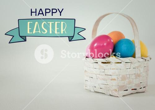 Easter banner and basket with eggs against white background