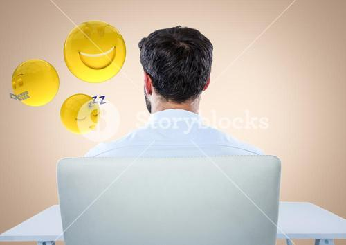 Back of man sitting with emojis against cream background