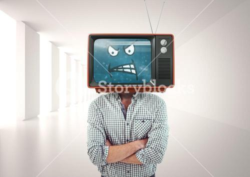 Angry man with his hands folded. Tv head