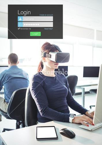 Woman wearing VR Virtual Reality Headset with Login Interface