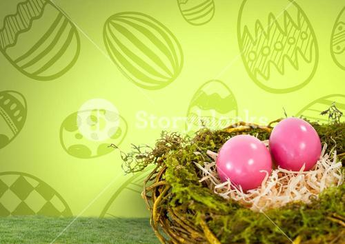Easter eggs in nest in front of pattern