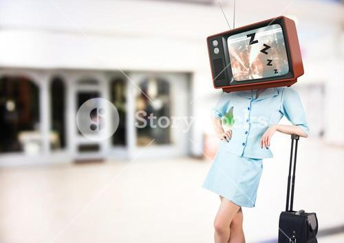 Flight attendant with tv head sleeping