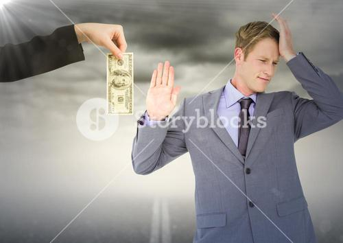 Business man refusing money against road and stormy sky with flare