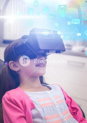 Girl wearing VR Virtual Reality Headset with Interface