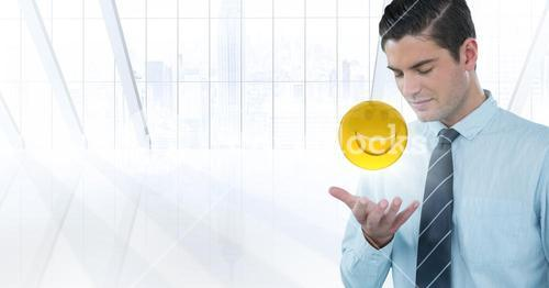 Business man with hand open and emoji with flare against white window