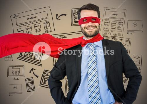 Business man superhero with hands on hips against brown background with website doodles