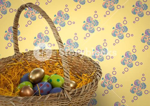 Easter eggs in basket in front of pattern