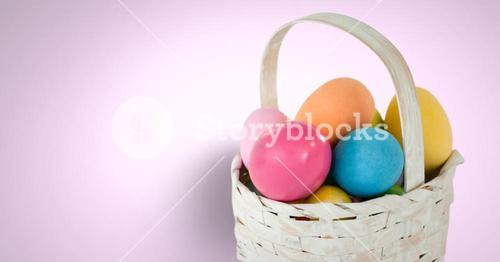 Easter eggs in front of pink background