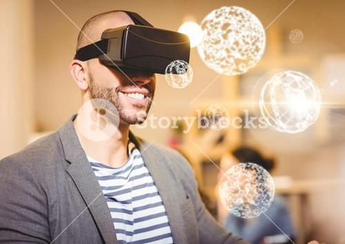 Man wearing VR Virtual Reality Headset with Interface