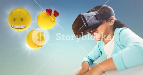 Girl in VR with emojis and flares against blue green background