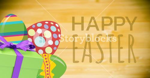 Green type and green gift and red green eggs against green background
