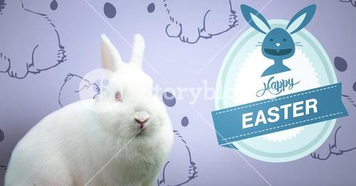 Happy Easter text with Easter rabbit in front of pattern
