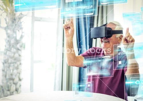 Old man happy wearing VR Virtual Reality Headset with Interface