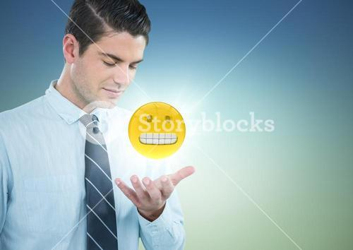 Business man with hand open and emoji with flare against blue green background