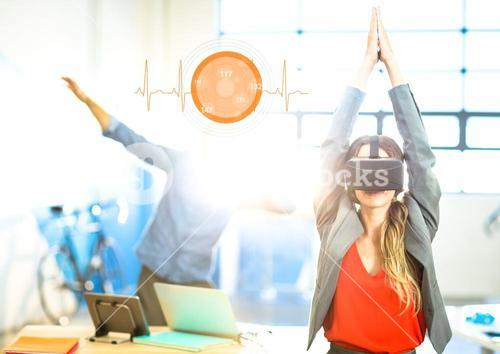 Woman doing yoga exercise wearing VR Virtual Reality Headset with Interface