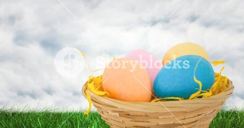 Easter eggs in front of cloudy sky