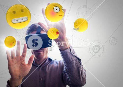 Man in VR with hands up touching flares and emojis against white network