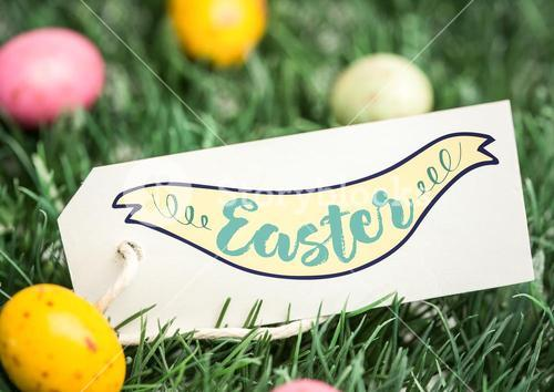 Eggs in grass with label and easter graphic