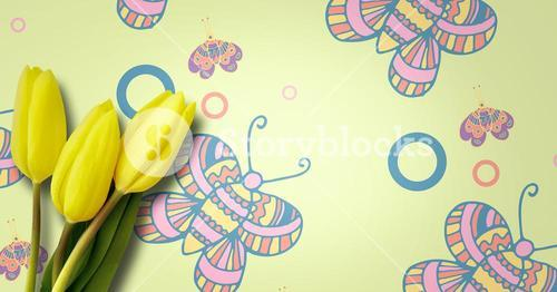 Daffodils in front of butterfly pattern