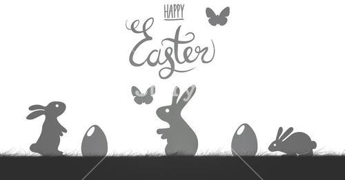 Happy Easter illustration with butterflys in  white background