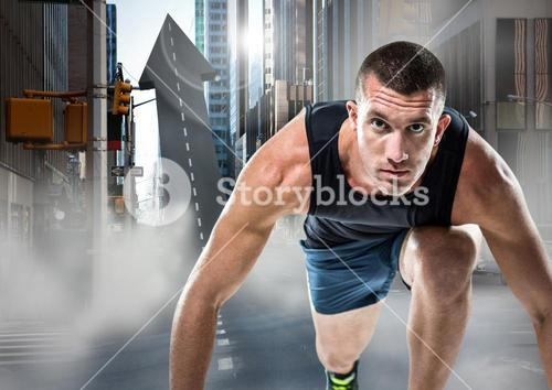 Male runner on arrow shaped road in street