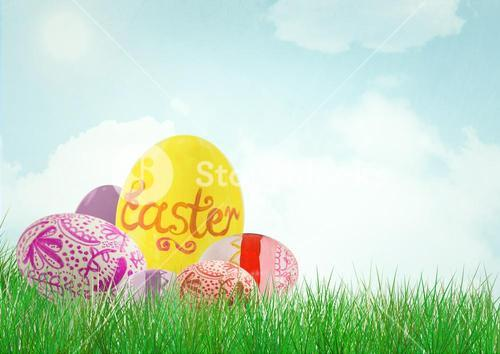 Easter egg with others sky background.