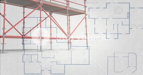 3D red scaffolding with soft grey and blueprint background