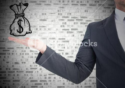 Business man with hand out and money doodle against grey brick wall
